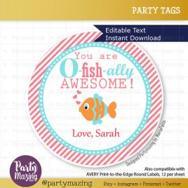 Valentine's Day Tag, Fish Valentine's Tag, Printable Editable Valentine Labels, Gift Tags, Cupcake Toppers, Printable stickers  D526