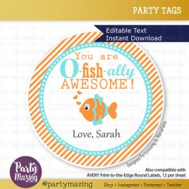 Valentine's Day Tag, Fish Valentine's Tag, Printable Editable Valentine Labels, Gift Tags, Cupcake Toppers, Printable stickers  D822