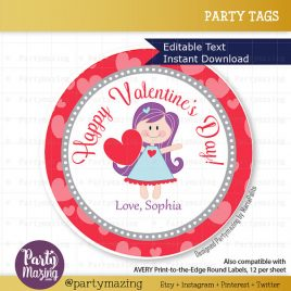 Valentine's Day Tag, Printable Editable Cute Girl Valentine's Tag,  Labels,  Gift Tags, Cupcake Toppers, Printable stickers D720
