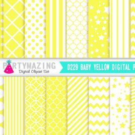 Yellow Digital Paper Pack, Chevron Polka Dot Stripe Digital Paper Scrapbook Background, Basic Digital Paper Pack  D229