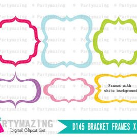 Bracket Frames, 36 frames , 6 shapes in 6 colors with white background D145