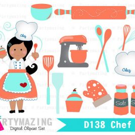 Chef Clipart set, African American Chef, Black Hair Chef, Cupcake Baking clipart set, Sweet Baking Party Clipart Set  D138