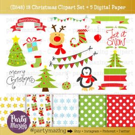 Christmas ClipArt, Penguin, Reindeer ClipArt set, Rudolph, Let it snow,  Christmas Tree, Instant Download D348
