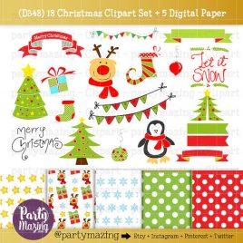 Christmas ClipArt, Penguin, Reindeer ClipArt set, Rudolph, Let it snow,  Christmas Tree, Instant Download D348