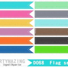 Clipart Banner, Clipart Flag set Dotted line, Bright  Flags Digital Ribbon Clip Art, Tags D069