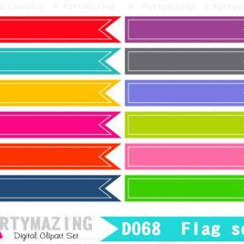 Clipart Banner, Clipart Flag set with inside line, Bright  Flags Digital Ribbon Clip Art, Tags D068