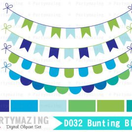 Cute Bunting Clipart Set, Blue and Green Party Bunting Clipart Set D032