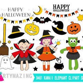 Cute Halloween Clipart Set,  Trick or Treat, Digital Clip Art Graphics INSTANT Download D462