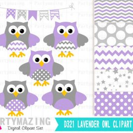Owl Clip Art, Lavender and Grey Clip Art Set and Digital Paper Set- Cute Owl Clipart set, Polka dot and Chevron D322