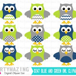 Owl ClipArt,, Cute Owl Navy Blue, Lime Green and Gray Clip Art set - Baby Boy clipart set D247