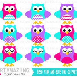 Owl ClipArt, Cute Owl Pink, Purple and Aqua Clip Art set - Baby Girl clipart set D250