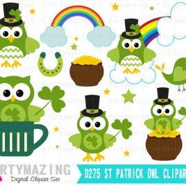 Owl ClipArt, St patrick's Clipart Set, Spring Owl Garden Clip Art Set, Saint Patrick's Clipart,  Instant Download D275