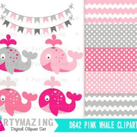 Pink Whale Clip Art , Baby Shower Pink and Gray Clip Art Set and Digital Paper Set- Baby Girl Whale Clipart set D642