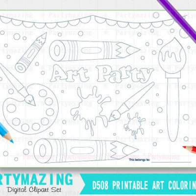 Printable Art Party Coloring Page, Art Supplies Page, Party Favor childrens kids coloring page, Instant Download A508