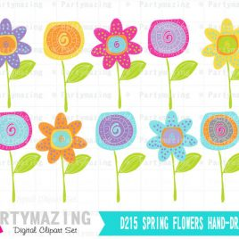 Spring Flower clipArt set, Hand-drawn flower clipart set, Instant Download D215