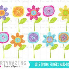 Spring Flower clipArt set, Hand-drawn flower clipart set, Instant Download D215
