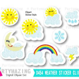 Weather Clipart Set, Clipart Planner, Sunny Weather Report Clipart Set, Handrawn Sticker Style Set, Instant Download D454