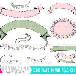 Wedding Clipart, Flags, Ribbon and frames, Digital Images, Rose Pink and Olive, Hand drawn Clipart , Instant Download D347