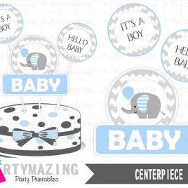Baby Blue Elephant Centerpiece, Baby shower DIY Printable Centerpiece, Instant download,Elephant Baby Shower Collection D415