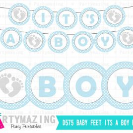 Baby Feet It's a Boy Banner, Printable Banner, Baby Feet Baby Shower, DIY Party Banner, Instant download, D576