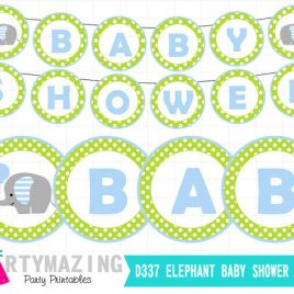 Elephant Printable Banner, Green and Baby Blue, DIY Party Banner, chevron, Instant download, Green Elephant Baby Shower Collection D337