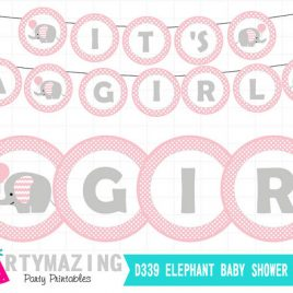 Elephant Printable Banner, It's a Girl Banner, Pink and Gray Elephant With Balloon Polka Dot / Chevron Baby Shower Collection  D339