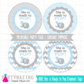 Elephant Shower Tag, She is ready to pop, Printable Tag, Baby Blue Elephant, Cupcake toppers, stickers, Party Circle Tags D682