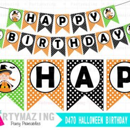 Halloween Banner, Cute Witch, Printable Happy Halloween Banner D470