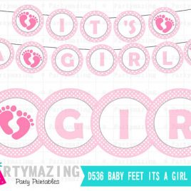 It's a Girl Banner, Baby Feet Printable Banner, DIY Party Banner, chevron, Instant download,  D536