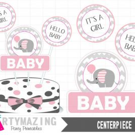 Pink Elephant Centerpiece, Baby shower DIY Printable Centerpiece, Instant download, Pink Elephant Baby Shower Collection D331