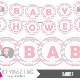 Pink Elephant Printable Banner, Pink Baby Shower, DIY Party Banner, chevron, Instant download, Pink Elephant Baby Shower Collection D329