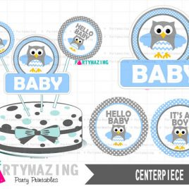 Printable Owl Centerpiece, Baby Blue Owl Baby Shower, It's a Boy, Instant download, Baby Blue Owl Baby Shower Collection D427