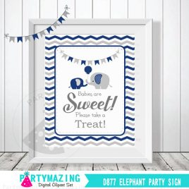 Babies Are Sweet Please Take A Treat Sign, Navy Blue and Grey Elephant Baby Shower Favor Sign, Chevron, DIY Printable, INSTANT Download D877