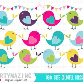 Bird ClipArt Set, Hand drawn Bright Colors Clip ArT Set,  Instant Download D204