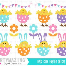 Chick ClipArt Set, Easter Clipart Planner, Easter Hunt Eggs Clip ArT Set,  Instant Download D202