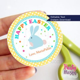 Easter Bunny Printable Tag, Editable Printable Easter Bunny, Cute Class Easter Sticker, Happy Easter Round Tag D856