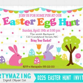 Easter Egg Hunt printable Invitation, Personalized Invitation, Easter Egg Hunt  invitation D225