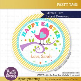Easter Printable Tag, Editable Printable  Class Easter Sticker, Happy Easter Round Tag Little Birdie Birthday Collection D258