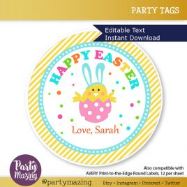 Easter Printable Tag, Editable Printable Easter Bunny, Class Easter Sticker, Happy Easter Round Tag D765