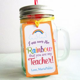 Editable Teacher Appreciation Tag, Printable Rectangle Tag, I am over the Rainbow that you are my teacher, School Tags, Gift Tag D880