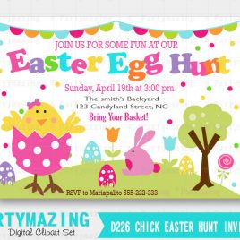 Chick Easter Egg Hunt printable Invitation, Cute Chick in an egg Personalized Invitation, Easter Egg Hunt invitation D226