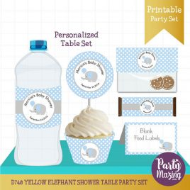 PERSONALIZED  Blue Elephant Party Decor, Printable Baby Shower Table Set, Cupcake toppers, Water Bottle Labels, Candy Wrappers D741