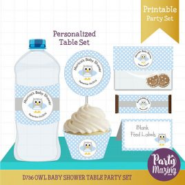 PERSONALIZED  Owl Baby Shower, Printable Baby Shower Table Set, Blue Boy Shower, Water Bottle Labels, Candy Wrappers and more  D736