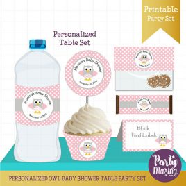 PERSONALIZED  Owl Baby Shower, Printable Baby Shower Table Set, Water Bottle Labels, Candy Wrappers and more  D737