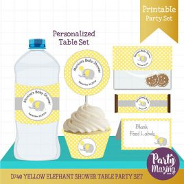 PERSONALIZED  Yellow Elephant Party Decor, Printable Baby Shower Table Set, Cupcake toppers, Water Bottle Labels, Candy Wrappers D740