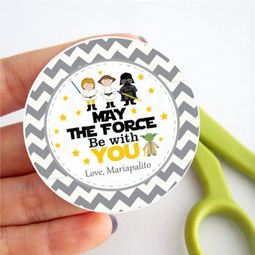 Printable Star Wars Tags, Editable Party Favor Tag, May the force be with you. Gift Labels, Cupcake Toppers, Printable stickers D867