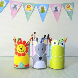 Cute Animal Tin Can Wrappers, Printable Pen Organizer, Lion, Frog, Mouse, Instant Download D484