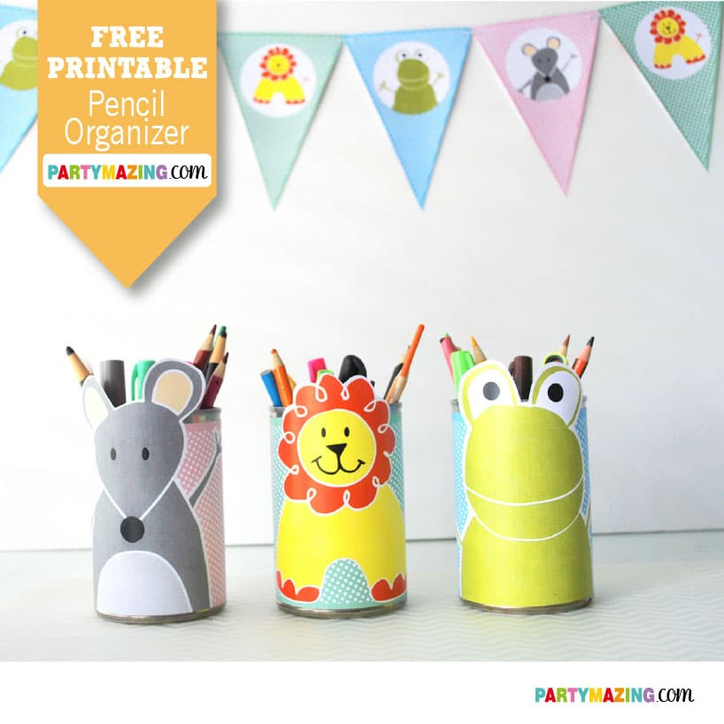 Free Printable Pencil Organizer, Just grab a tin can, print and wrap with these amazing printable,. Your kids will love it and you will love them because all the color pencils are in one place. Partymazing.com