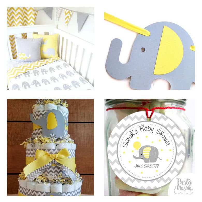 15 Amazing Yellow and Grey Elephant Chevron Baby Shower Ideas. Get in the mood of a Baby Shower with these partymazing ideas. Visit www.partymazing.com for more Party & Crafts for your next Party.
