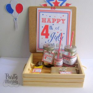 4th of July Party Set, Printable Independence Day Pack, Party Sign, 2.5 inches Tags, Napkin Rings and More -D927